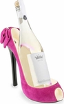 Magenta Suede High Heel Wine Caddy