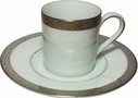 Nikko Ceramics Set of 6 Platinum Filigree Demitasse Cups and Saucers