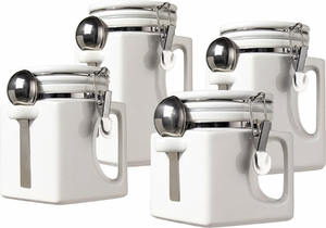 Oggi 4 Piece White Ceramic Canister Set - Click to enlarge