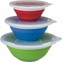 Progressive Set of 3 Collapsible Storage Bowls with Lids