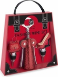 Red Glitter Fashion Wine Set