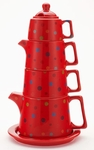Tower Tea Set Red Dots