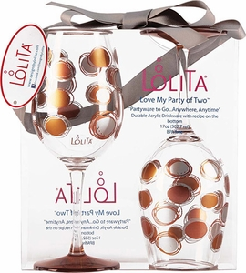Lolita Set of 2 Shimmery Metallic Ink Acrylic Wine Glasses - Click to enlarge