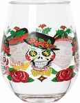 Set of 2 Sugar Skull Stemless Wine Glasses