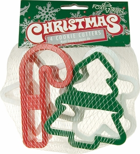 Set of 4 Plastic Christmas Cookie Cutters - Click to enlarge
