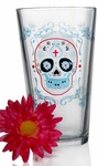 Set of 4 Sugar Skulls Day of the Dead Pub Glasses