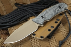 Attleboro Knife Tactical Fixed Blade - Tan on Tan