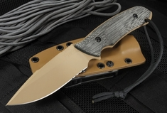 Attleboro Knife Tactical Fixed Blade - Tan on Tan - Partial Serrations
