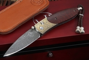 William Henry B05 Buchanan Damascus and Gold Folding Knife