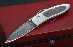 William Henry B05 Tactic Monarch - Carbon Fiber Damascus Folding Knife