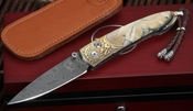 William Henry B10 Antiquity Folding Knife - Fossil Mammoth and Damascus