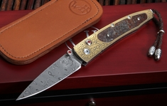William Henry B10 Clover Lancet Dinosuar Bone & Gold Folding Knife