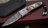 William Henry B10 Noble - Carved Silver, Mammoth and Damascus