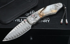 William Henry B12 Wyvern Spearpoint - Damascus, Mammoth and Carved Silver