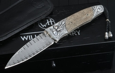 William Henry B30 Dracha - Sterling Silver and Damascus Folding Knife