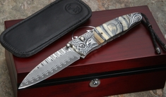 William Henry B30 Victory Folding Knife - Carved Silver & Damascus
