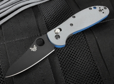 Benchmade 555BK-1 Mini Griptilian Gray G-10 & Black Blade Folding Knife