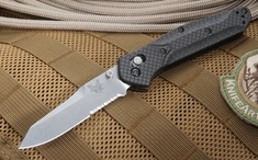 Benchmade 940S-1 Carbon Fiber- S90V Steel with Serrations