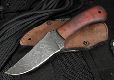 Winkler Damascus Blue Ridge Hunter - Maple Handle - Leather Sheath - Exclusive