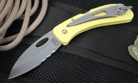 Boye Cobalt Folding Knife - Yellow - Drop Point