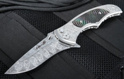Brian Tighe  - Dress Tighe Coon Stainless Damasteel and Black Pearl Folding Knife - SOLD