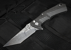Brian Tighe -Tighe Tac XL - Damasteel and Carbon Fiber Folder