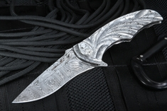 Brian Tighe Tighe Coon - All Damascus Folding Knife - SOLD