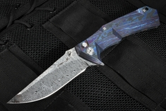 Brian Tighe - Tighe Tac XL Black Timascus and Damasteel Folding Knife