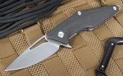 Brous Mini Division Carbon Fiber Flipper - Stonewashed D2 Steel - Folding Knife