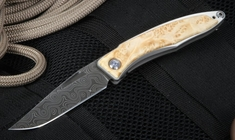 Chris Reeve Mnandi Box Elder and Raindrop Damascus Folding Knife