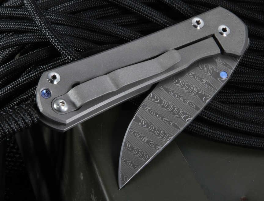 Chris Reeve Small Sebenza 21 Ladder Damascus Folding Knife