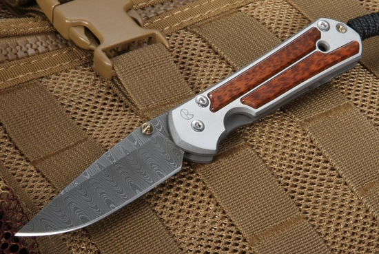 Chris Reeve Small Sebenza 21 Snakewood - Ladder Damascus Folding Knife