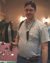 "Dan Unger aka ""Danbo"" holds the Fisk Camp Knife"