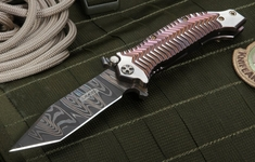 "Darrel Ralph Custom  AXD 4"" Damascus Tanto Folding Knife"