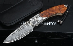 Exclusive William Henry B12 Night Tide -  Damascus Folding Knife