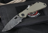 Duane Dwyer Custom SNG Ranger Green and Damascus Tactical Folding Knife