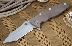 "Rick Hinderer 3.5"" Eklipse Tan Tactical Folding Knife"