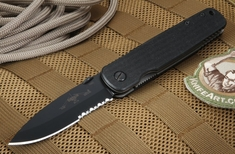 Emerson A100 BTS Black Serrated Blade Folding Knife
