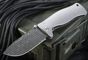 Exclusive LionSteel SR1 Damascus - Lizard Pattern - Integral Titanium Folding Knife