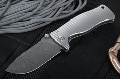 LionSteel SR-1 Damascus - Raindrop Pattern - Integral Titanium Knife