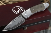 Exclusive William Henry B12 Terrain - Wave Damascus and Micarta Folding Knife