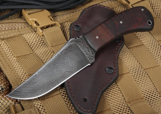 Exclusive Winkler Damascus Belt Knife - Maple Handle