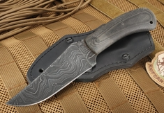 Exclusive Winkler Damascus Belt Knife - Micarta