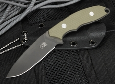 "Rick Hinderer Flashpoint 3"" Tactical Neck Knife - OD Green G-10 and Black DLC"