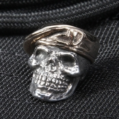 GD Skulls Sterling Silver Skull with Bronze Beret Bead