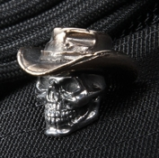 GD Skulls Cowboy Sterling Silver Skull with Bronze Hat