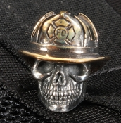 GD Skulls Fire Fighter Sterling Silver Skull with Bronze Hat