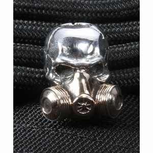 gd skulls gas mask sterling silver skull with bronze mask 1 - Best Of Lanyard Beads for Knives