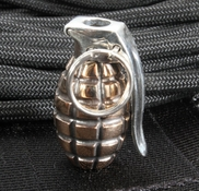 GD Skulls Grenade - Sterling Silver and Bronze Bead