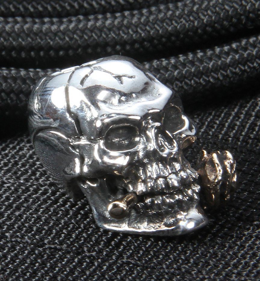 GD Skulls Sterling Silver Rose Skull with Bronze Rose